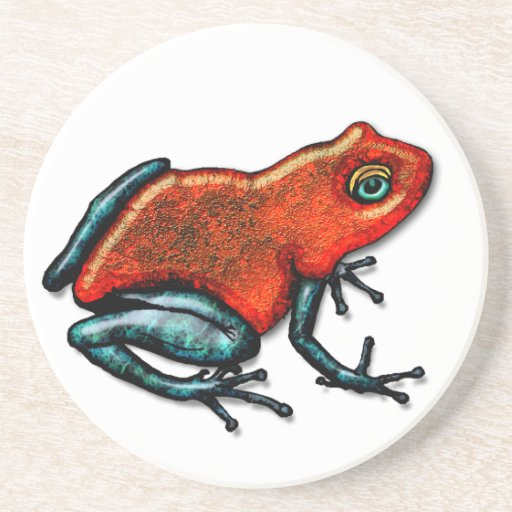 Red and Green Poison Dart Frog Drink Coasters
