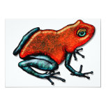 Red and Green Poison Dart Frog 5x7 Paper Invitation Card