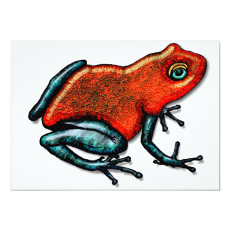 Red and Green Poison Dart Frog Personalized Invitation