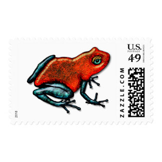 Red and Green Poison Dart Frog Postage