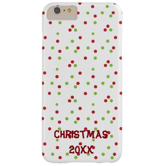 Red and Green Poka-dots on White Barely There iPhone 6 Plus Case