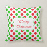 Red and Green Polka Dot Pattern Christmas Throw Pillows