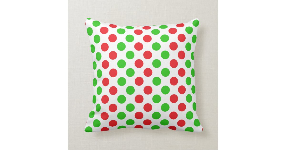 Red and Green Polka Dot Pattern Christmas Throw Pillow Zazzle