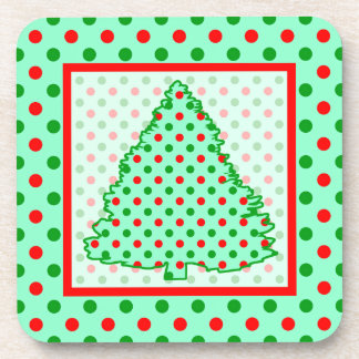 Red and Green Polka Dot Tree Beverage Coaster