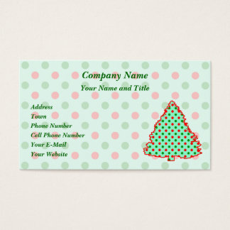 Red and Green Polka Dot Tree Business Card