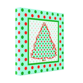 Red and Green Polka Dot Tree Canvas Print