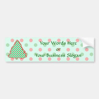 Red and Green Polka Dot Tree Car Bumper Sticker