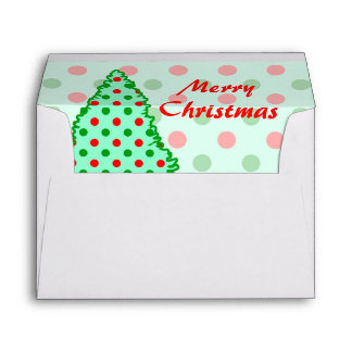 Red and Green Polka Dot Tree Envelope