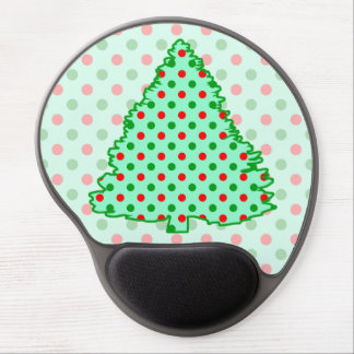Red and Green Polka Dot Tree Gel Mouse Pad
