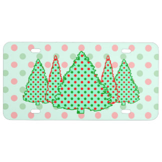 Red and Green Polka Dot Tree License Plate