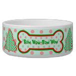 Red and Green Polka Dot Tree Pet Food Bowls