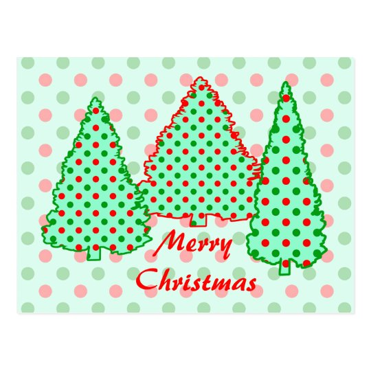 Red and Green Polka Dot Tree Postcard