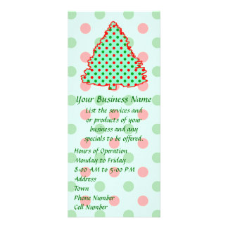 Red and Green Polka Dot Tree Rack Card