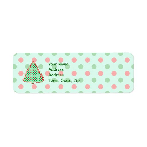 Red and Green Polka Dot Tree Return Address Label