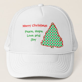 Red and Green Polka Dot Tree Trucker Hat