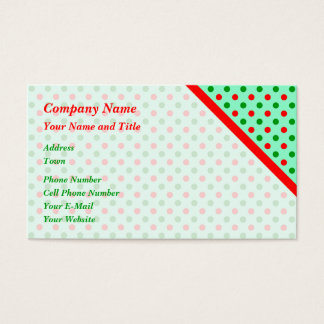 Red and Green Polka Dots Business Card