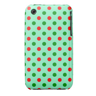 Red and Green Polka Dots Case-Mate iPhone 3 Cases