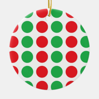 Red and Green Polka Dots Ceramic Ornament