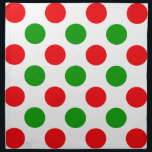 "Red and Green Polka Dots Cloth Napkin<br><div class=""desc"">Polka dots pattern in red and green colors.</div>"