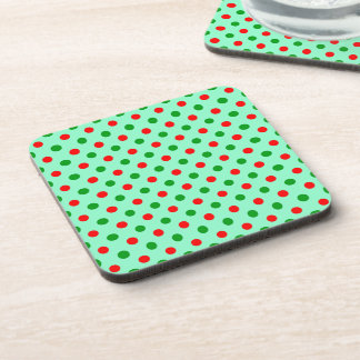 Red and Green Polka Dots Drink Coaster