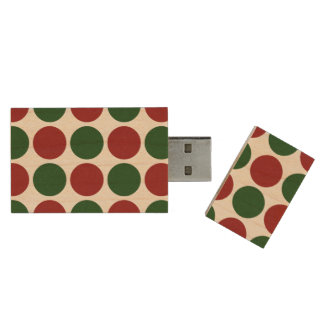 Red and Green Polka Dots Flash Drive