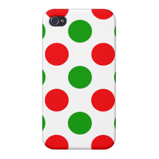 Red and Green Polka Dots iPhone 4/4S Covers