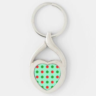 Red and Green Polka Dots Keychain