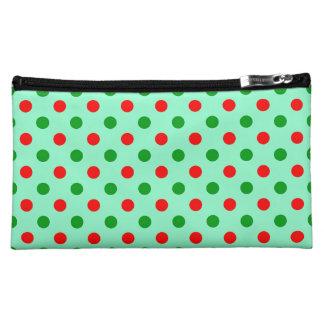 Red and Green Polka Dots Makeup Bag