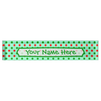 Red and Green Polka Dots Name Plate