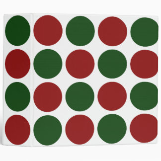 Red and Green Polka Dots on White 3 Ring Binder