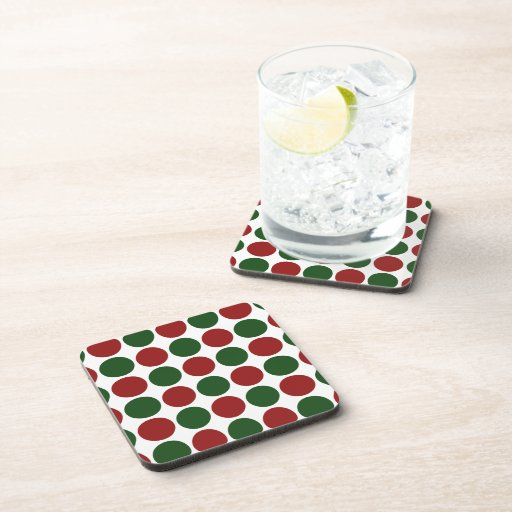 Red and Green Polka Dots on White Beverage Coaster
