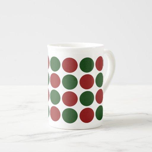 Red and Green Polka Dots on White Bone China Mug