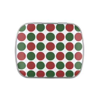 Red and Green Polka Dots on White Candy Tin