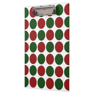 Red and Green Polka Dots on White Clipboard