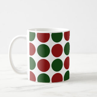 Red and Green Polka Dots on White Coffee Mug