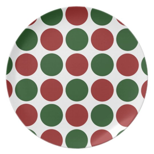 Red and Green Polka Dots on White Dinner Plate
