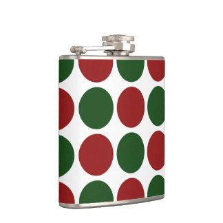 Red and Green Polka Dots on White Flask