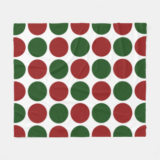 Red and Green Polka Dots on White Fleece Blanket