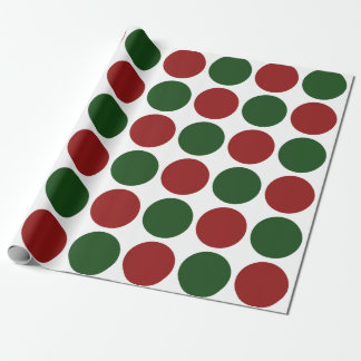 Red and Green Polka Dots on White gift wrap