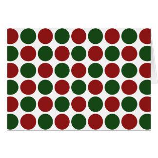 Red and Green Polka Dots on White Greeting Cards