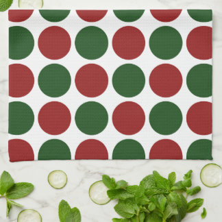 Red and Green Polka Dots on White Hand Towel