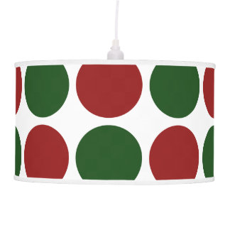 Red and Green Polka Dots on White Hanging Lamp