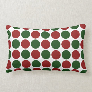 Red and Green Polka Dots on White Lumbar Pillow