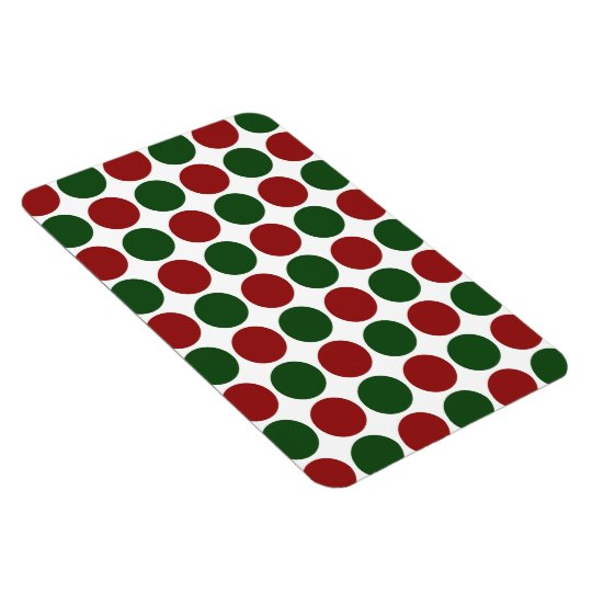 Red and Green Polka Dots on White Magnet