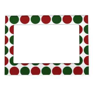 Red and Green Polka Dots on White Magnetic Photo Frame