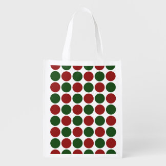 Red and Green Polka Dots on White Market Tote