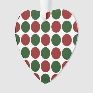 Red and Green Polka Dots on White Ornament