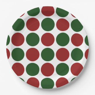 Red and Green Polka Dots on White Paper Plate