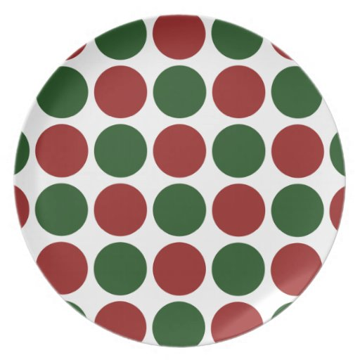Red and Green Polka Dots on White Party Plates