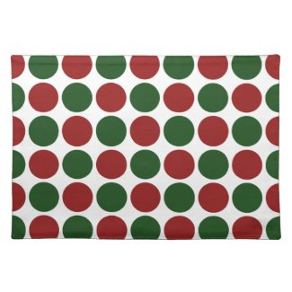 Red and Green Polka Dots on White Placemats